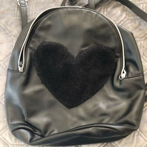 Girls Fashion backpack with black fuzzy heart